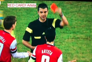 Arteta from Arsenal red card